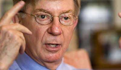 ** FILE ** George F. Will, a Pulitzer Prize-winning conservative American newspaper columnist, journalist and author, is interviewed at his office in Washington's Georgetown district on April 22, 2008. (Associated Press)