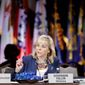 Oklahoma Gov. Mary Fallin leads a discussion on jobs and education at the National Governors Association convention on July 12 in Nashville, Tennessee. (Associated Press)