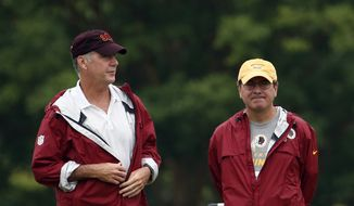 Washington Redskins president and general manager Bruce Allen, left, stands with owner Daniel Snyder during practice at the team's NFL football training facility, Sunday, July 27, 2014 in Roanoke, Va. (AP Photo/Alex Brandon) **FILE**