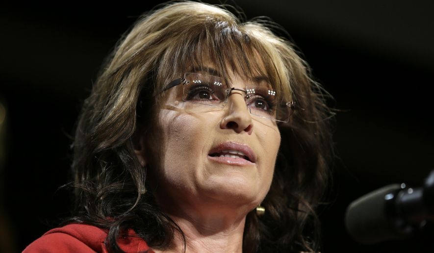 ** FILE ** In this April 27, 2014, file photo, former Alaska Gov. Sarah Palin speaks during a campaign rally in West Des Moines, Iowa. (AP Photo/Charlie Neibergall, File)