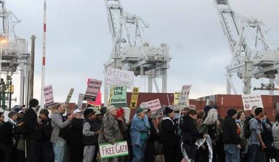 Pro-Palestinian activists in the San Francisco Bay Area are planning to block the Port of Oakland this Saturday to prevent two commercial shipping tankers partially owned by the Israel Corporation from docking and unloading. A similar protest against a Zim ship in 2010 (pictured here) was held by hundreds of Bay Area activists condemning Israel's blockade of the Gaza Strip. (Facebook/Block the Boat for Gaza)