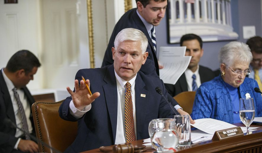 House Rules Committee Chairman Pete Sessions, Texas Republican, is joined by Rep. Virginia Foxx, North Carolina Republican, as he speaks during a panel on Capitol in Washington on May 7, 2014. (Associated Press) **FILE**