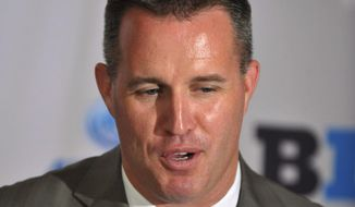 Northwestern head coach Pat Fitzgerald talks to the media during the Big Ten football media days Monday July 28, 2014, Sports Time Schedule/Planner