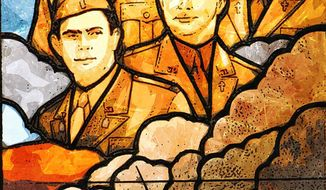 Stained-glass window in the Pentagon portraying the four chaplains              The Washington Times