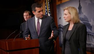 Sen. Ted Cruz, Texas Republican, and Sen. Kirsten Gillibrand, New York Democrat, are condemning the use of human shields in armed conflicts. (Associated Press)