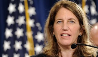 Health and Human Services Secretary Sylvia Burwell speaks at a news conference at the Treasury Department in Washington, Monday, July 28, 2014, to discuss the release of the annual Trustees Reports. (AP Photo/Susan Walsh)** FILE **