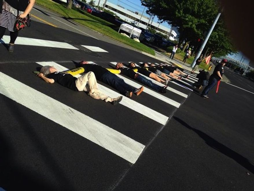 Pro-Palestinian activists blocked the entrance to a Boeing office in Washington state Monday morning, accusing the company of profiting from Israel's offensive in Gaza.  (Twitter/Jewish Voice for Peace)