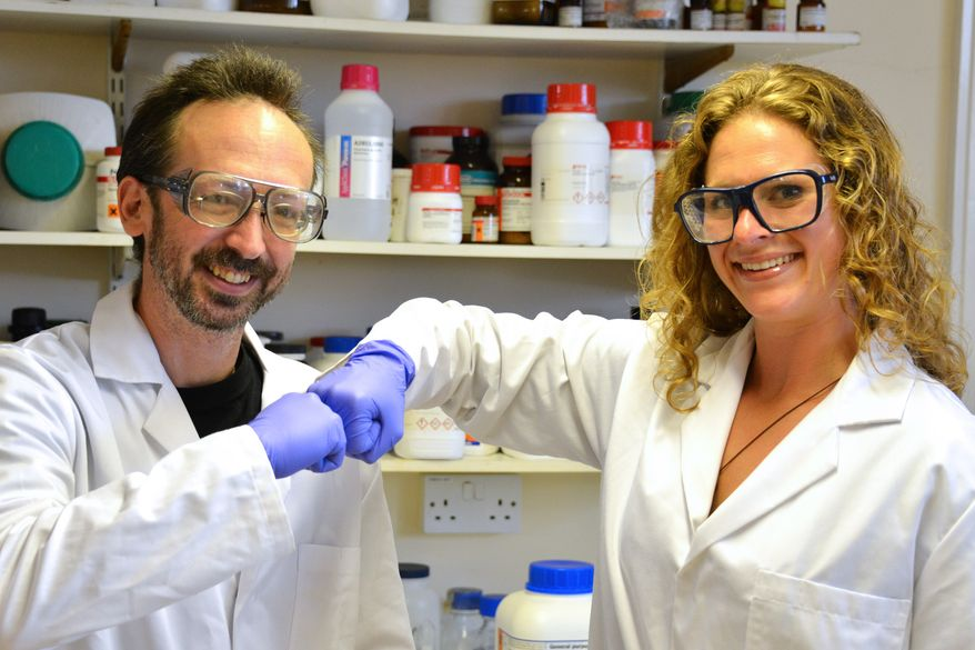 In this undated photo provided by Prifysgol Aberystwyth University, researchers David Whitworth, left, and Sara Mela, pose for photo in the lab at Prifysgol Aberystwyth University in Aberystwyth, Wales. According to results published online Monday, July 28, 2014, in the American Journal of Infection Control, the researchers found that the knocking of knuckles, fist bump, spreads only one-twentieth the amount of bacteria that a handshake does. (AP Photo/Prifysgol Aberystwyth University)