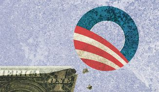 Illustration on failing Obama economic policy by Alexander Hunter/The Washington Times