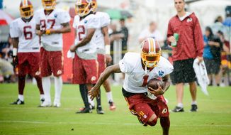 Washington Redskins wide receiver DeSean Jackson (1) catches a ball on the opening day of Washington Redskins Training Camp at Bon Secours Training Center, Richmond, Va., Thursday, July 24, 2014. (Andrew Harnik/The Washington Times)