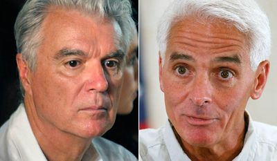 "Musician David Byrne and former Florida Governor Charlie Crist. Byrne sued Crist in 2010 over the unauthorized use of Talking Heads classic ""Road to Nowhere"" during Crist failed senatorial campaign."