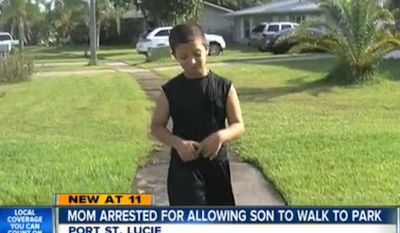 Nicole Gainey, of Port St. Lucie, was arrested and charged with child neglect after she allowed her 7-year-old son Dominic to walk a half-mile to the local park alone. (WPTV)