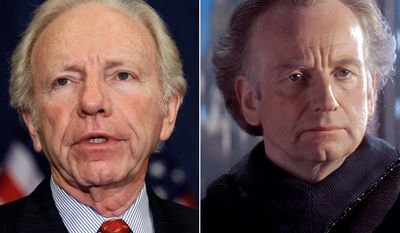Former Senator and Vice Presidential candidate Joe Lieberman and Supreme Chancellor Palpatine of the Galactic Senate (Star Wars prequel) portrayed by Ian McDiarmid.