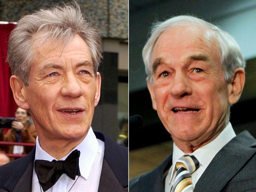 British actor Ian McKellen (Gandalf, Magneto) and former Republican presidential candidate Rep. Ron Paul, R-Texas.