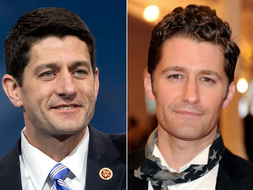 House Budget Committee Chairman, Rep. Paul Ryan, R-Wis. and actor Matthew Morrison who played the character Will Schuester on the Fox television show Glee.