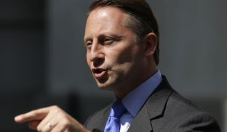 Republican gubernatorial challenger Rob Astorino speaks at a news conference in New York, Wednesday, July 30, 2014. Astorino was speaking about allegations that Democratic Gov. Andrew Cuomo's administration meddled with his state anti-corruption commission. (AP Photo/Seth Wenig)