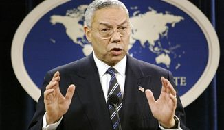 """As soon as they tell me 'surgical,' I head for the bunker"": Colin Powell on war in his book ""My American Journey."" (AP Photo/J. Scott Applewhite, File)"