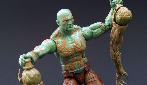 Hasbro's Drax the Destroyer shows off pieces of Groot from the Marvel Legends Infinite Series' Guardians of the Galaxy Build-a-figure. (Photo by Joseph Szadkowski / The Washington Times)