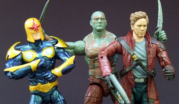Nova, Drax the Destroyer and Peter Quill (aka Star-Lord) from Hasbro's Marvel Legends Infinite Series Guardians of the Galaxy action figure collection. (Photo by Joseph Szadkowski / The Washington Times)