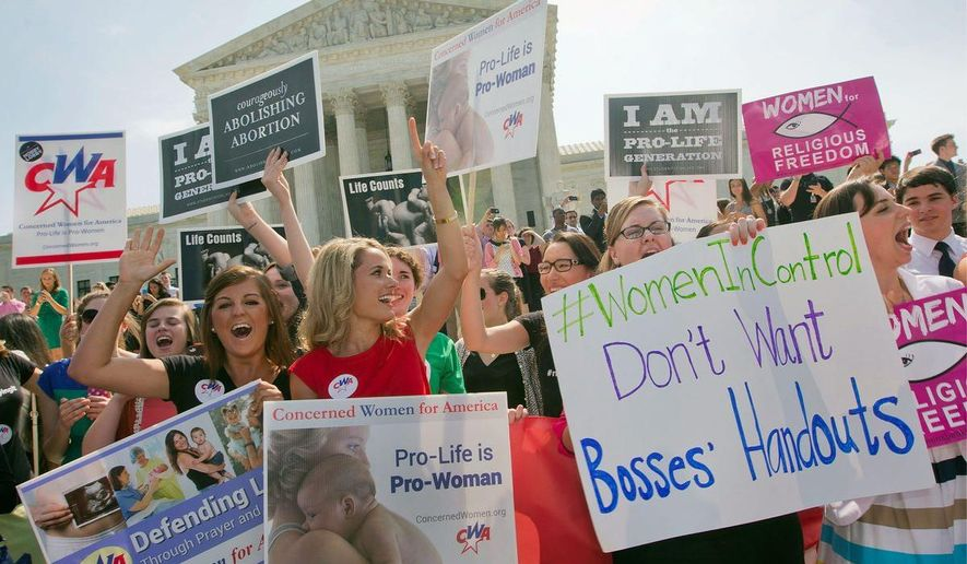 """** FILE ** Democrats doubled down on the """"war on women"""" meme after the Supreme Court's Hobby Lobby decision, which allowed the company's religious owners to exclude four of the 20 birth-control methods required under Obamacare. (Associated Press)"""