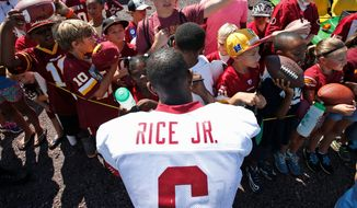 Redskins receiver Jerry Rice Jr. knows he can't depend on his famous father's name and that he's a longshot to make the roster. (Associated Press)