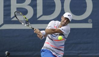 Steve Johnson, of the United States, returns the ball to Ivo Karlovic, of Croatia, at the Citi Open tennis tournament, Thursday, July 31, 2014, in Washington. (AP Photo/Luis M. Alvarez)
