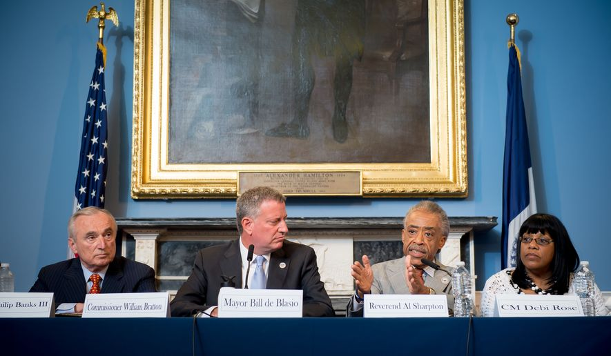 In this July 31, 2014, photo provided by the New York City Mayoral Photography Office, The Rev. Al Sharpton, second right, speaks to the audience in New York during a roundtable discussion convened by New York Mayor Bill de Blasio, center left, to ease tensions over the July 17, police involved death of Eric Garner. Garner, who was asthmatic, was being arrested on suspicion of selling loose cigarettes and died soon after being placed in the apparent choke hold by a police officer. From left are New York City Police Commissioner William Bratton; de Blasio, Sharpton and New York City Council member Debi Rose.  (AP Photo/New York City Mayoral Photography Office, Bob Bennett)