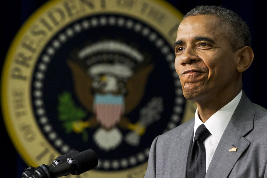 """President Barack Obama mentions actions in Congress before signing the """"Fair Pay and Safe Workplace"""" executive order, requiring prospective federal contractors to disclose labor law violations, Thursday, July 31, 2014, in the South Court Auditorium of the Eisenhower Executive Office Building on the White House complex in Washington. (AP Photo/Jacquelyn Martin)"""