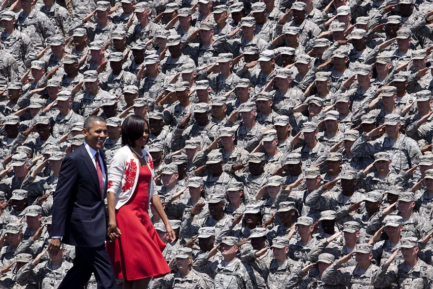 President Barack Obama and First Lady Michelle Obama visit Fort Stewart. (White House photo)