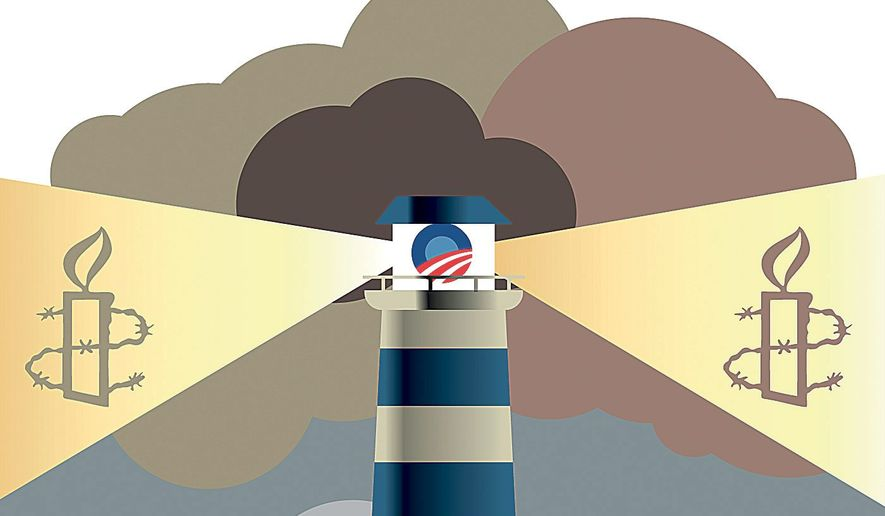 "Illustration on Obama's disastrous ""invitation"" to illegal aliens by Linas Garsys/The Washington Times"