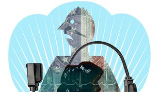 Illustration on the importance of coal generated electricity to American life by Alexander Hunter/The Washington Times