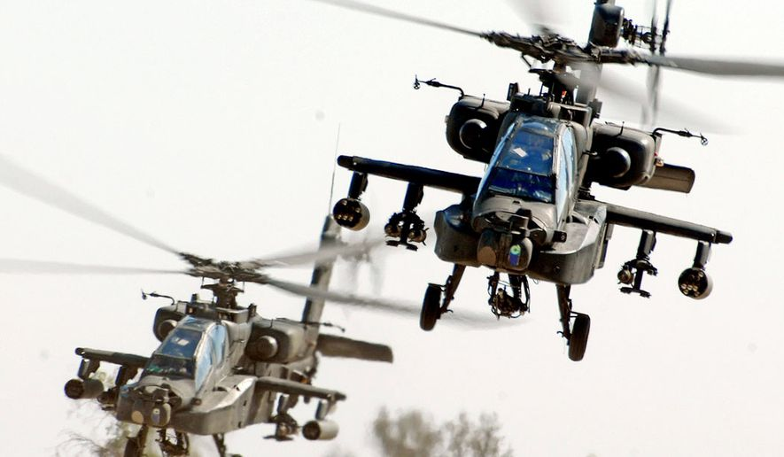 """NUMBER 1. BOEING AH-64 APACHE is a four-blade, twin-engine attack helicopter with a tailwheel-type landing gear arrangement, and a tandem cockpit for a two-man crew. It features a nose-mounted sensor suite for target acquisition and night vision systems. It is armed with a 30 mm (1.18 in) M230 Chain Gun carried between the main landing gear, under the aircraft's forward fuselage. It has four hardpoints mounted on stub-wing pylons, typically carrying a mixture of AGM-114 Hellfire missiles and Hydra 70 rocket pods. The AH-64 has a large amount of systems redundancy to improve combat survivability. An air weapons team of two AH-64D Apaches from the 1st """"Attack"""" Battalion, 227th Aviation Regiment, 1st Air Cavalry Brigade, 1st Cavalry Division, come in for a landing at Camp Taji, Iraq, after completing a reconnaissance mission in the skies over Baghdad Nov. 6. Photo by Chief Warrant Officer 4 Daniel McClinton, 1st ACB, 1st Cav. Div."""