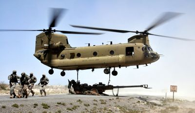 NUMBER 5. BOEING CH-47 CHINOOK is a twin-engine, tandem rotor heavy-lift helicopter. Its primary roles are troop movement, artillery placement and battlefield resupply. It has a wide loading ramp at the rear of the fuselage and three external-cargo hooks. With a top speed of 170 knots (196 mph, 315 km/h) the helicopter is faster than contemporary 1960s utility and attack helicopters. The CH-47 is among the heaviest lifting Western helicopters. Its name is from the Native American Chinook people. Soldiers from the 4th Battalion, 27th Field Artillery Regiment, 2nd Brigade Combat Team, 1st Armored Division, conduct sling-load operations during the Network Integration Evaluation 12.2 at White Sands Missile Range, N.M. on May 15, 2012. Soldiers loaded an M777 Howitzer using cables attached to the underside of a CH47 Chinook helicopter, assigned to 2-501st General Aviation Support Battalion, Combat Aviation Brigade, 1st Armored Division, which transported the weapon to another location. The NIE, as part of the Agile Process, is a series of semi-annual evaluations designed to integrate and mature the Army's tactical network. The NIE assesses potential Network capabilities in a robust operational environment to determine whether they perform as needed, conform to the Network architecture and are interoperable with existing systems. The NIE also ensures that the Network satisfies the functional requirements of the force, and it relieves the end user of the technology integration burden. U.S. Army Photo by Spc. Jeanita C. Pisachubbe, HHC, Combat Aviation Brigade, 1st Armored Division.