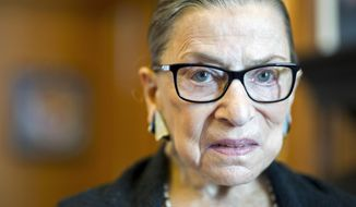 Associate Justice Ruth Bader Ginsburg in her Supreme Court chambers in Washington, Thursday, July 31, 2014. (AP Photo/Cliff Owen)