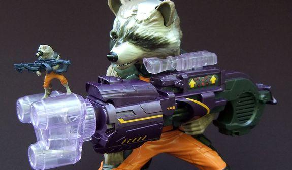 Hasbro's Battle Gear Rocket Raccoon and Big Blastin' Rocket Raccoon (Photo by Joseph Szadkowski / The Washington Times)