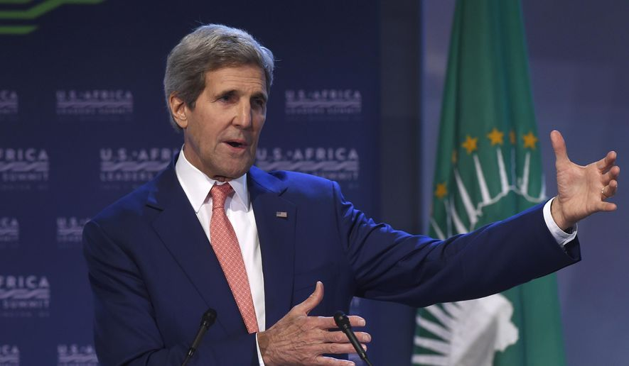 Secretary of State John Kerry gestures as he speaks in Washington, Monday, Aug. 4, 2014, during the Resilience and Food Security in a Changing Climate discussion at the US Africa Summit. President Barack Obama is gathering nearly 50 African heads of state in Washington for an unprecedented summit aimed in part at building his legacy on a continent where his commitment has been questioned. (AP Photo/Susan Walsh)