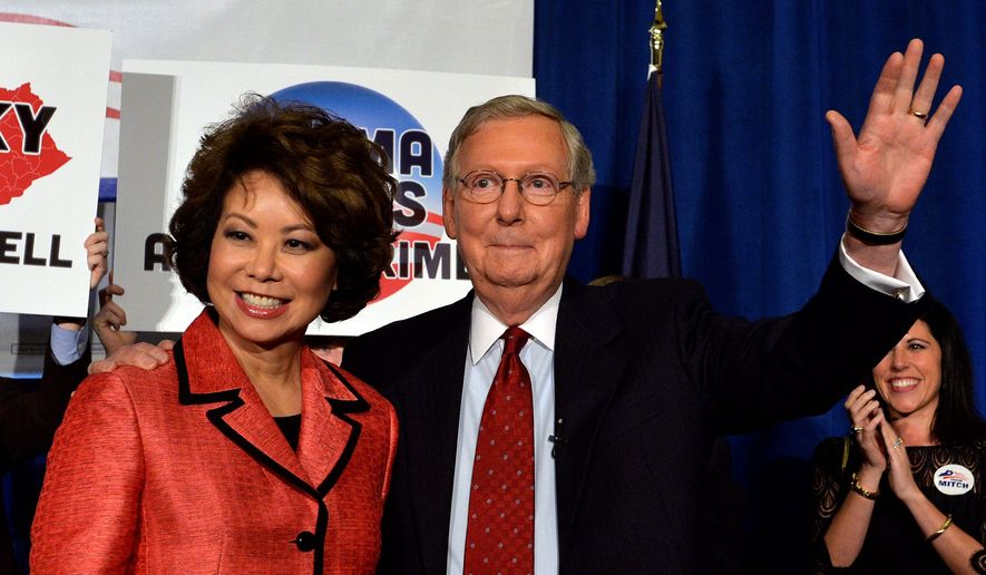 Senate Minority Leader Mitch McConnell is from Kentucky, but a Democratic operative apparently thinks wife Elaine Chao is not. (Associated Press)