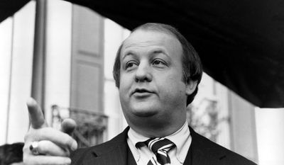 James Brady, selected by president-elect Ronald Reagan to become his press secretary, talks to reporters after the announcement was made in Washington, D.C., Tuesday, Jan. 6, 1981.  (AP Photo)