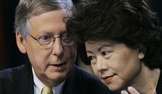 Elaine Chao and her husband, Sen. Mitch McConnell, in 2007. (Associated Press)