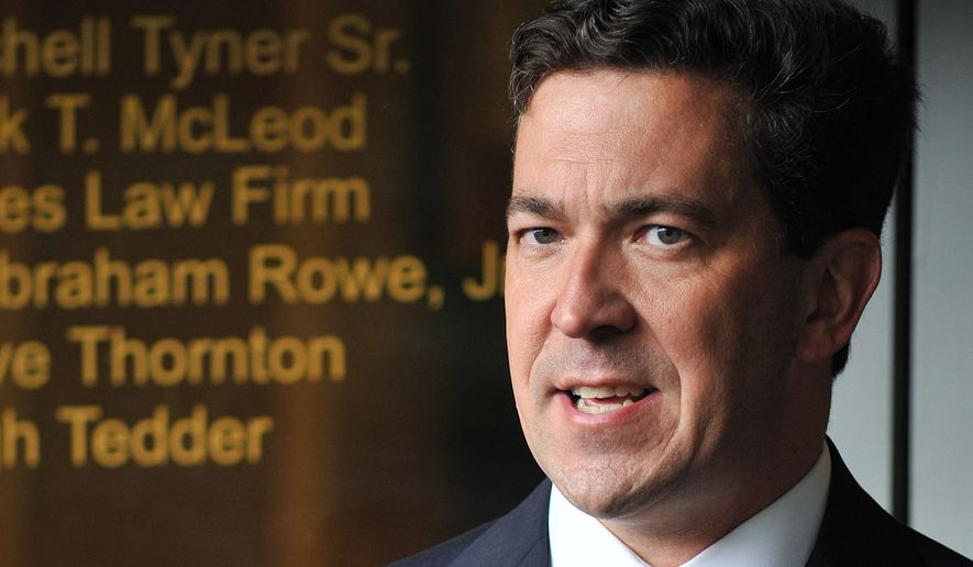 Senatorial candidate Chris McDaniel talks about his election challenge Monday, Aug. 4, 2014 during a news conference at the Tyner Law Firm on I-55 N Frontage Road in Jackson, Miss. (AP Photo/The Clarion-Ledger, Rick Guy)