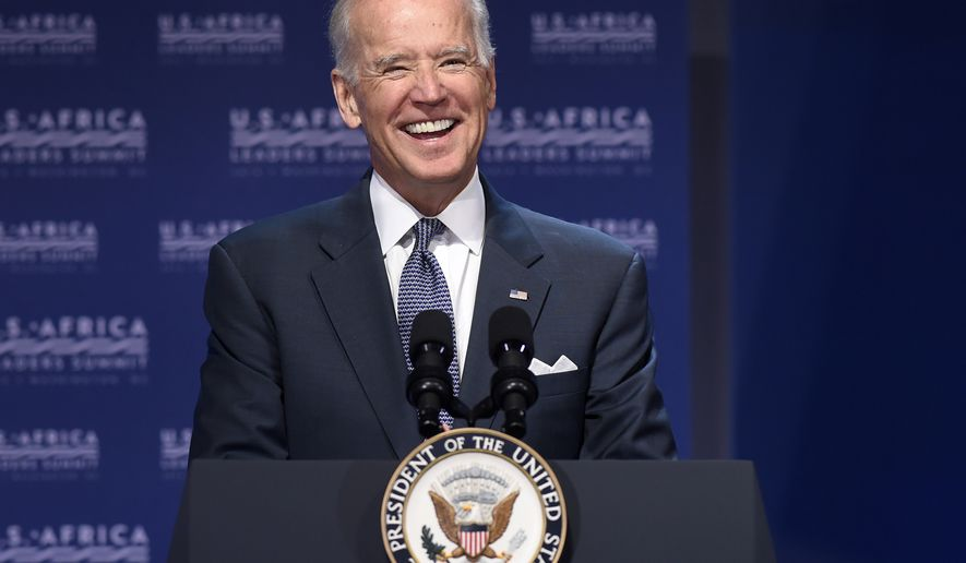 Vice President Joe Biden speaks in Washington, Monday, Aug. 4, 2014, during the Civil Society Forum of the US Africa Summit.  President Barack Obama is gathering nearly 50 African heads of state in Washington for an unprecedented summit aimed in part at building his legacy on a continent where his commitment has been questioned. (AP Photo/Susan Walsh)
