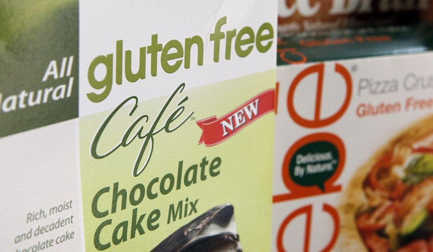 In this Aug. 2, 2013, file photo, a variety of foods labeled Gluten Free are displayed in Frederick, Md., Friday, Aug. 2, 2013. (AP Photo/Jon Elswick, File) **FILE**