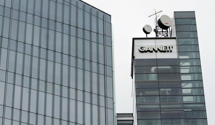 This July 14, 2010, file photo, shows Gannett headquarters in McLean, Va. (AP Photo/Jacquelyn Martin, File)