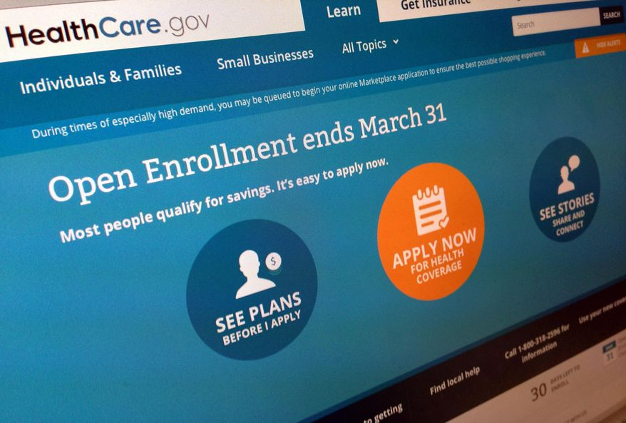 ** FILE ** This March 1, 2014, file photo shows part of the website for HealthCare.gov, seen in Washington. (AP Photo/Jon Elswick, File)