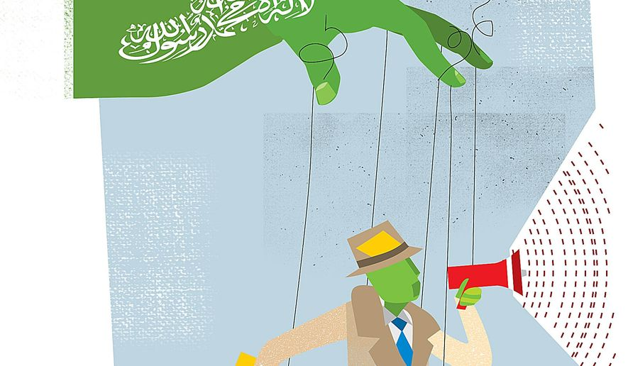 Illustration on Hamas influence on reporting media by Linas Garsys/The Washington Times