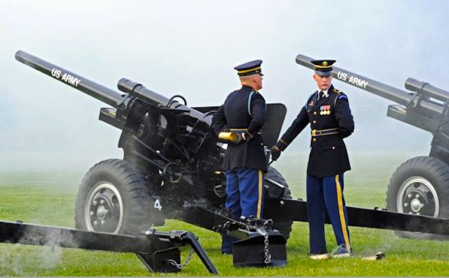 """Cue anti-tank guns: The 5,775-pound big bruisers roll out to accentuate the """"1812 Overture,"""" the finale for the U.S. Army Band's summer concert series. (U.S. Army)"""