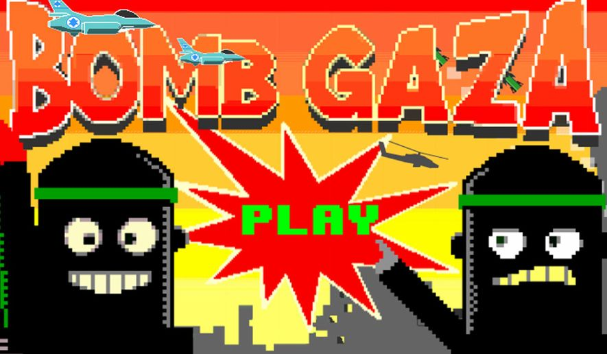 "In ""Bomb Gaza,"" developed by PlayFTW, gamers dropped bombs from a fighter jet while dodging missiles from Hamas fighters. (Time/Google Play)"
