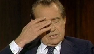 In this June 10, 1983 frame grab of video made available by Raiford Communications, Inc., former president Richard Nixon talks about his 1974 resignation in a series of interviews conducted by former White House aide Frank Gannon in New York City. The Richard Nixon Presidential Library and the privately held Nixon Foundation are co-releasing a trove of videotaped interviews with the  former president to mark the 40th anniversary of his resignation following the Watergate scandal. The 28 minutes of tape, detailing Nixon's personal turmoil in his final week in office, were culled from more than 30 hours of tape recorded in 1983. (AP Photo/Copyright Raiford Communications) IMAGE MAY ONLY BE USED FOR 3 DAYS FROM TIME OF TRANSMISSION; NO ARCHIVING; NO LICENSING. PUBLIC OUT.