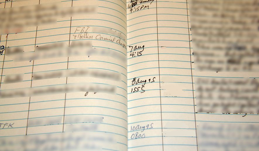"This undated handout photo provided by the National Counterterrorism Center (NCTC) shows a redacted ledger with names of suspected terrorists. Decades ago, names of suspected terrorists were kept in a rolodex and in notebooks, according to redacted government photographs. The Associated Press has learned that a U.S. government database of known or suspected terrorists doubled in size in recent years. The National Counterterrorism Center says there were 1.1 million people in the database at the end of 2013. Of those, 25,000 are U.S. citizens or legal permanent residents. There were about 550,000 people in the database in March 2010. The Terrorist Identities Datamart Environment, called ""TIDE,"" is a huge, classified database of people who are known to be terrorists, are suspected of having ties to terrorism, or in some cases related to or are associates of known or suspected terrorists. It feeds to smaller lists that restrict peoples' abilities to travel on commercial airlines to or within the U.S. (AP Photo/NCTC)"