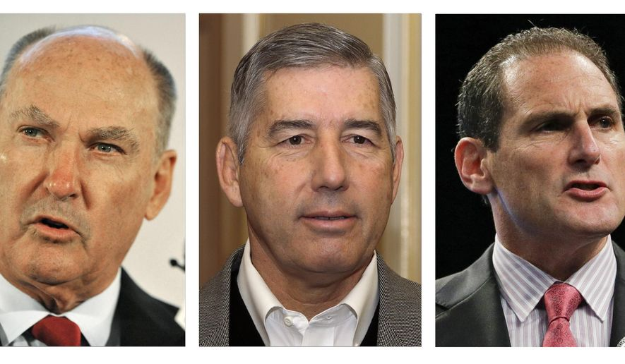 FILE - From left are file photos showing Southeastern Conference commissioner Mike Slive in 2012, Big Ten Commissioner Jim Delany in 2014, Big 12 commissioner Bob Bowlsby in 2013, Pac-12 Commissioner Larry Scott  in 2013 and Atlantic Coast Conference commissioner John Swofford  in 2013. The NCAA board of directors will vote Thursday, Aug. 7, 2014,  on a proposal that would give the five wealthiest college football conferences the ability to make rules and pass legislation without the approval of the rest of the Division I schools. (AP Photo/File)